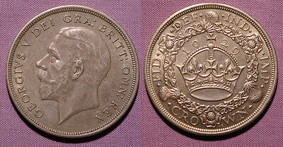 1929 KING GEORGE V SILVER WREATH CROWN - Nice Coin