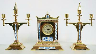 Rare Antique 19thc French 2 Tone Brass, Blue & White Porcelain Mantel Clock Set
