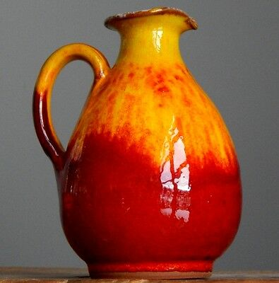 Vintage 60-70's Marked STUDIO ART Red Yellow Vase W.German Pottery Fat Lava Era