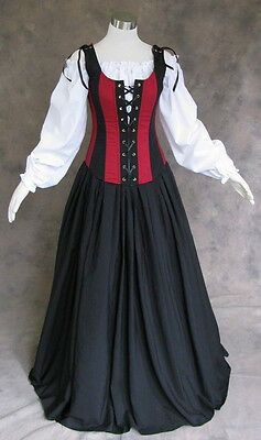 Renaissance Bodice Skirt and Chemise Medieval or Pirate Gown Dress Costume XL