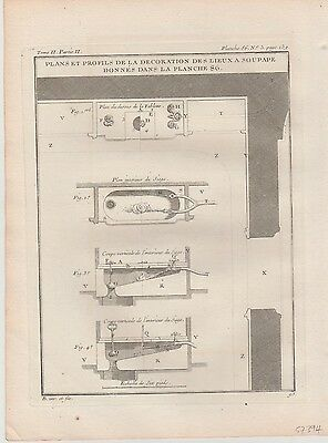 1737 Antique Engraving - Details of Decorative Flushing Toilet - Jacques Blondel