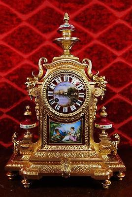 Antique 1855 French Japy Fils gilt mantel clock with beautiful Sevres porcelain