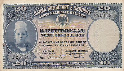20 Franka  Ari From Italian Occupied Albania 1926!very Fine!pick-3!rare