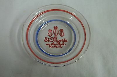 Glass Ashtray From The St. Moritz Hotel New York City Red White Blue
