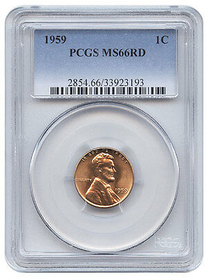 1959 1C Lincoln Memorial One Cent Ms 66 Rd Red Pcgs