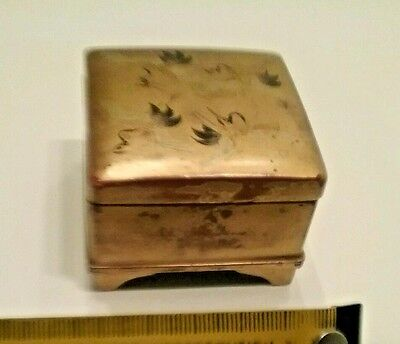 Antique Japan Small 5 X 5 Cm Square Rose Wood Box Gold Paradise Birds Lovely