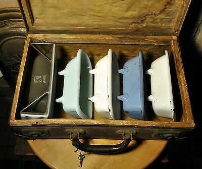 Vintage Salesman Enamel bath Sample Traveling bathtub Kit in Antique Suitcase