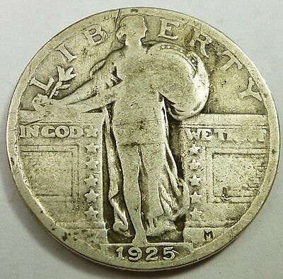 1925 United States Standing Liberty Quarter VG Very Good Condition