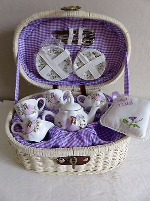 Delton Porcelain Tea Set Purple Fairy Floral + Wicker Basket Case New