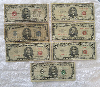 $5 Silver Certificate, red seals, and FRN  (total 7 pcs) - free shipping