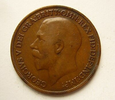 One Penny 1919. Original British coin. George V. B1540