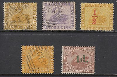 WESTERN AUSTRALIA 5 STAMPS, USED or Mint Hinged