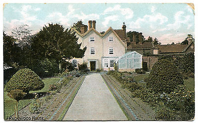 Packwood House, Nr Solihull, Early coloured card of garden