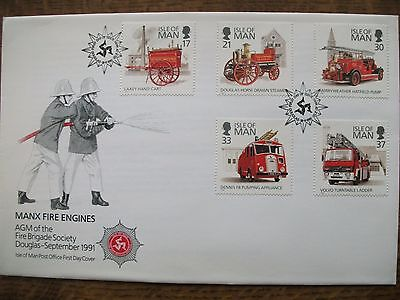 Isle of Man 1991 Fire Engines First Day Cover