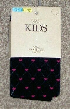 *new* Marks & Spencer Black With Pink Heart Tights Age 6-7 Years