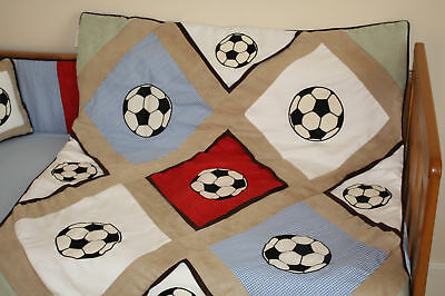 Baby boy's cotbed/cot luxury QUILT/DUVET (nursery bedding) football design NEW