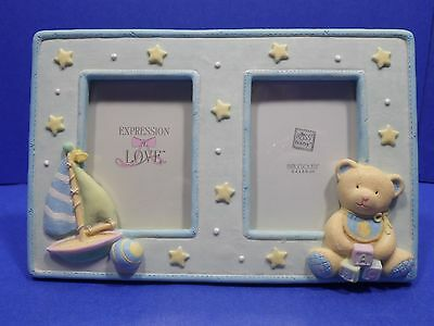Baby Photo Frame Russ Expressions of Love Double Picture Opening Handpainted