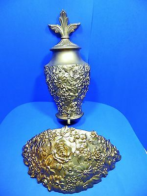 Home Interiors Urn & Planter Wall Mount Syrocco 4440 4441 Gold Hollywood Regency