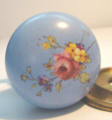 Antique Hand Painted ROSES ON BRASS Doorknob MADE IN ENGLAND MAYMORE SEE PICTURS