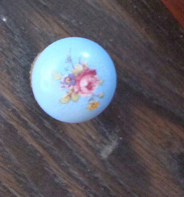 Antique Hand Painted ROSES SMALL DOOR KNOB OR DRESSER PULL  BRASS SEE PICTURS