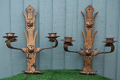 SUPERB PAIR: 19thC GILT BRONZE DECORATIVE WALL FIXTURES, CANDLE HOLDERS c1880s
