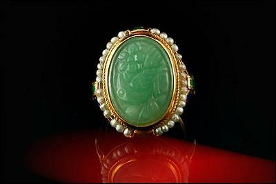 Old Chinese Carved Bird Green Jade Nephrite Seed Pearl Enamel 14K Gold Ring