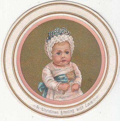 A Christmas Greeting With Love Baby Rattle Circle Vict Card c 1880s