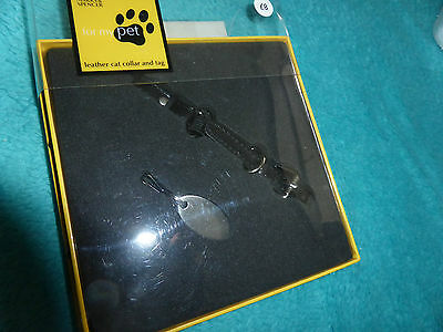 Marks And Spencer Leather Black Cat Collar And Id Tag New In Box