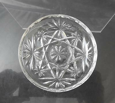 "Vintage Anchor Hocking Coaster Prescut Clear Glass Oatmeal Star Fan 3 3/4"" R35"