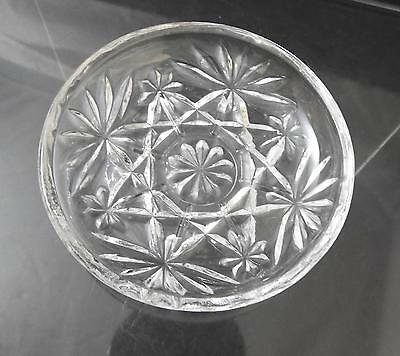 "Vintage Anchor Hocking Coaster Prescut Clear Glass Oatmeal Star Fan 3 3/4"" R37"