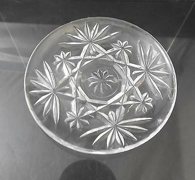 "Vintage Anchor Hocking Coaster Prescut Clear Glass Oatmeal Star Fan 3 3/4"" R39"