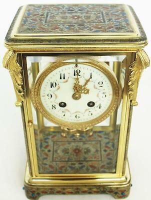 Antique 19thc French Brass Champleve Enamel Tiffany & Co 4 Glass Mantel Clock
