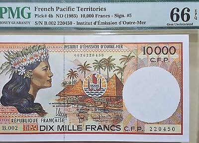 French Pacific Territories-10000 Frs-Nd(1985)-Pmg*66*epq Gem Unc-V.scarce-Lot 2