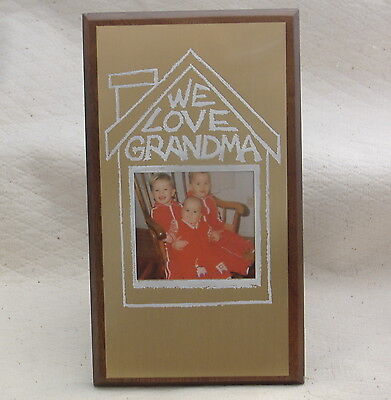 Picture frame We Love Grandma wood plaque metal plate child kids photo grandson