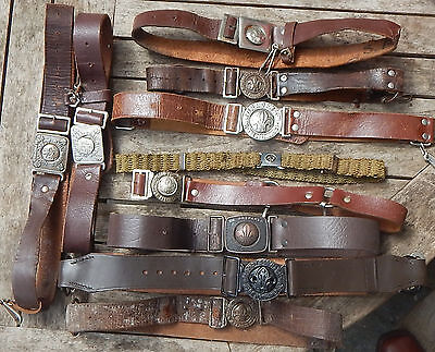 Instant COLLECTION of OLD Boy Scout and GIRL GUIDE Uniform Belts Mostly ANTIQUE