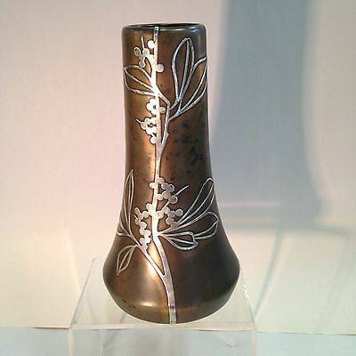 Heintz Bronze & Silver Mission Arts and Crafts 9 inch tall vase c1912