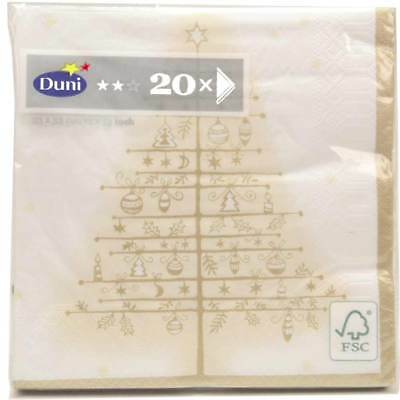 Duni Napkins 3 Ply Tissuegolden Tree White 33 x 33 cm, 1 x 20 Piece