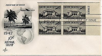 US FDC #C34 Air Mail Plate Block, ArtCraft (5203)