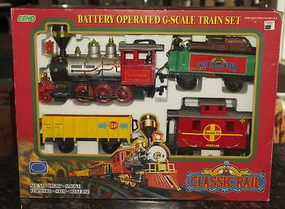 1996 Echo #89128 Classic Rail Battery Operated G-Scale 4-Car Train Set New