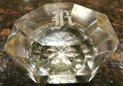 "RARE EIGHT SIDED MONOGRAMED ""R"" GLASS DOOR KNOB c1920s"