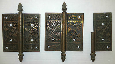 2 ½  LARGE CAST BRONZE HINGES W/ BIRD DESIGN NORWALK c1880S