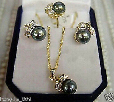 Charming Black Pearl Earring Ring & Necklace Set