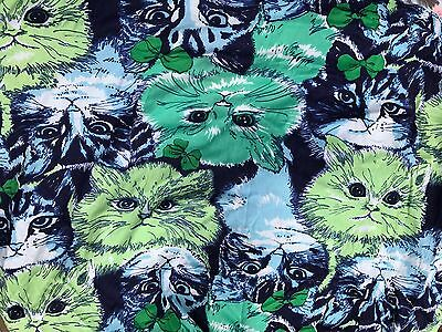 5 1/2 Yards Of Vintage Blue & Green Cat Heads Stretch Knit Fabric