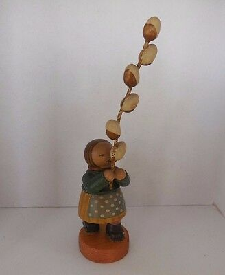 Antique Wendt Kuhn Flower Girl with Willow Branch Erzgebirge Wood  Germany 1920