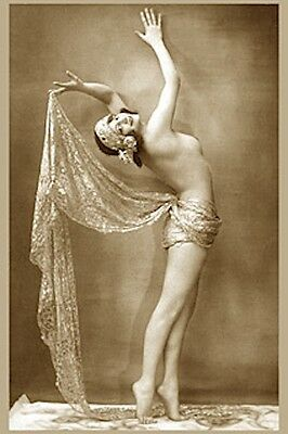 Vintage Musichall Dancer Nude Woman Burlesque Girl Fab Pose Breasts Walery Photo