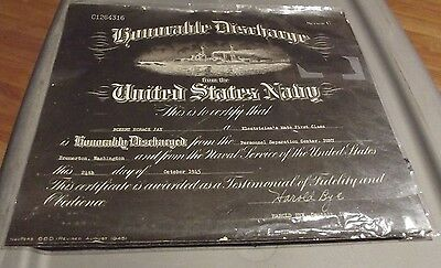 Vintage Wwii Us Navy Honorable Discharge Certificate Navpers 660 Robert Jay