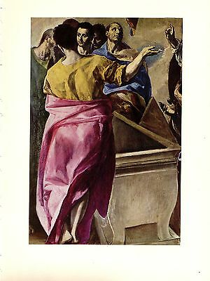 "1950 Vintage EL GRECO /""MAN WITH HIS HAND ON HIS BREAST/"" COLOR offset Lithograph"