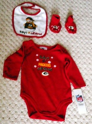 Green Bay Packers ( 3-6 mos) Christmas 3 piece set