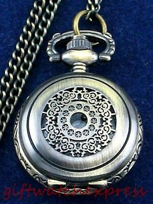 Antique Hollow Style Pendant Quartz Necklace/PocketKey Ring  Watch Bronz-tone