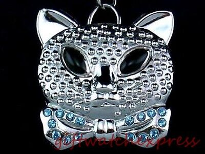 Cool Cat/Kitten Pendant Keychain/Key Ring Watch, Silver-tone,White Dial,Arabic